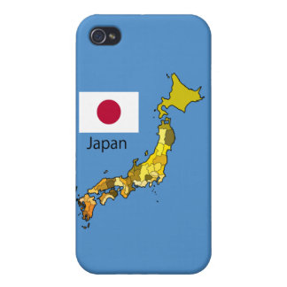 Map and Flag of Japan iPhone 4/4S Cases