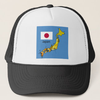 Map and Flag of Japan Trucker Hat