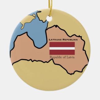 Map and flag of Latvia Christmas Tree Ornament