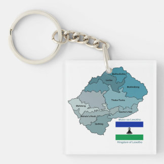 Map and Flag of Lesotho Double-Sided Square Acrylic Keychain