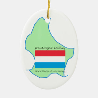 Map and Flag of Luxembourg Ornament