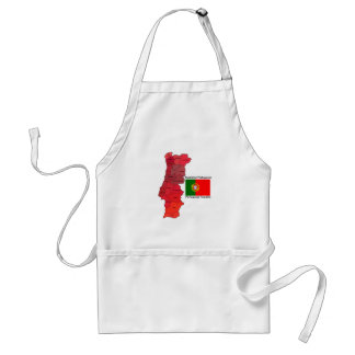 Map and Flag of Portugal Adult Apron
