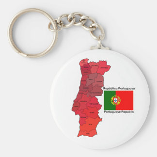 Map and Flag of Portugal Basic Round Button Keychain