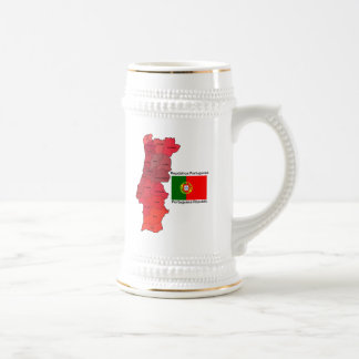 Map and Flag of Portugal Beer Stein