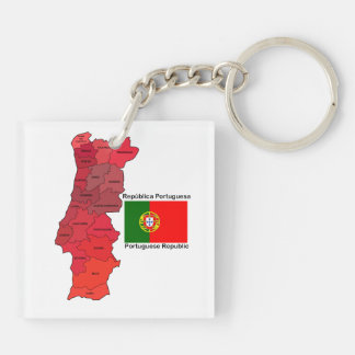 Map and Flag of Portugal Double-Sided Square Acrylic Keychain