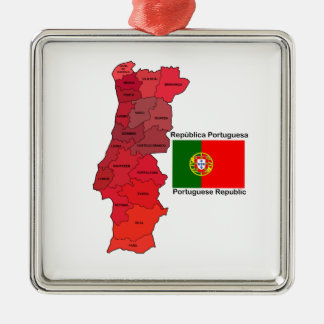 Map and Flag of Portugal Metal Ornament