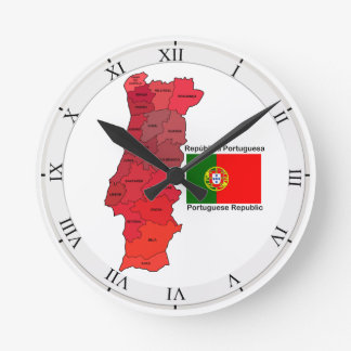 Map and Flag of Portugal Round Clock