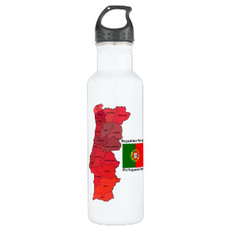 Map and Flag of Portugal Stainless Steel Water Bottle