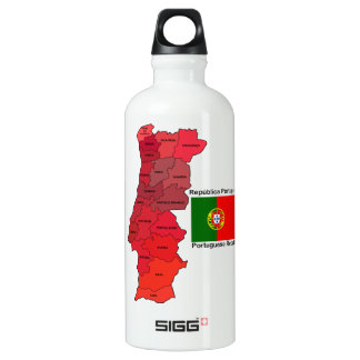 Map and Flag of Portugal Water Bottle
