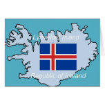 Map and Flag of Republic of Iceland Greeting Cards