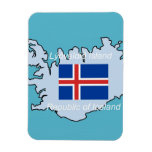 Map and Flag of Republic of Iceland Flexible Magnets
