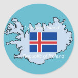 Map and Flag of Republic of Iceland Sticker