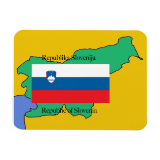 Map and Flag of Slovenia Rectangular Photo Magnet