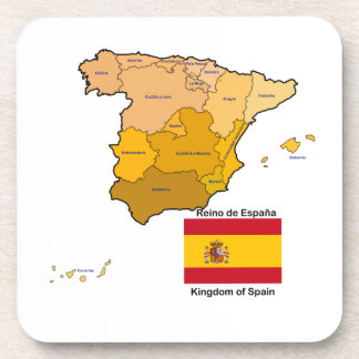 Map and Flag of Spain Beverage Coasters