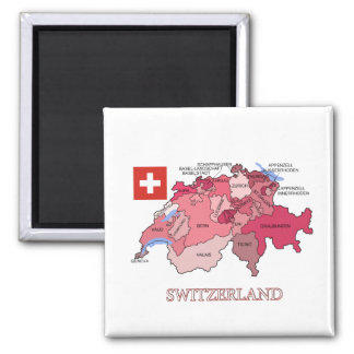Map and Flag of Switzerland Magnet