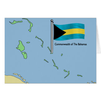 Map and Flag of the Bahamas Greeting Card