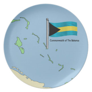 Map and Flag of the Bahamas Plate