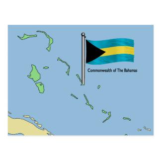 Map and Flag of the Bahamas Postcard