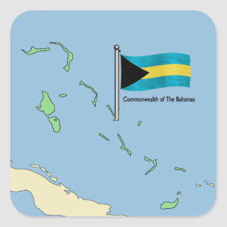 Map and Flag of the Bahamas Square Stickers