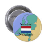 Map and Flag of the Netherlands 2 Inch Round Button