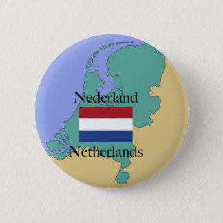Map and Flag of the Netherlands Button