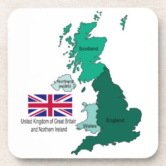 Map and Flag of the United Kingdom Beverage Coasters