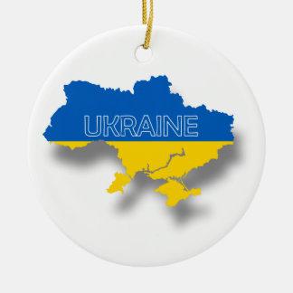 Map and Flag of Ukraine Ceramic Ornament