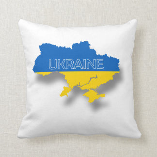 Map and Flag of Ukraine Throw Pillow