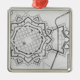 Map and fortifications of Neuf-Brisach Metal Ornament
