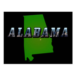 Map and Picture Text of Alabama Postcard