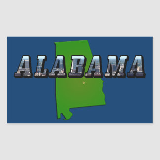 Map and Picture Text of Alabama Rectangular Sticker