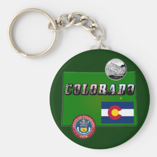 Map and Picture Text of Colorado Keychain