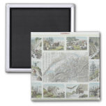 Map and Vignettes of Swiss Alps 2 Inch Square Magnet