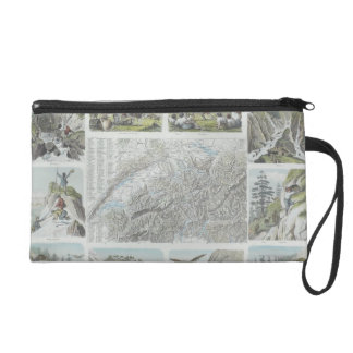 Map and Vignettes of Swiss Alps Wristlet Purse