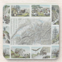 Map and Vignettes of Swiss Alps Beverage Coaster