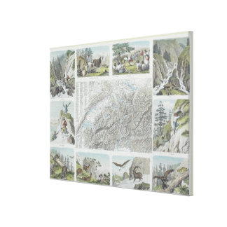 Map and Vignettes of Swiss Alps Canvas Print