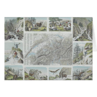 Map and Vignettes of Swiss Alps Card