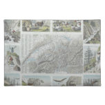 Map and Vignettes of Swiss Alps Cloth Placemat