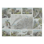 Map and Vignettes of Swiss Alps Greeting Cards
