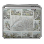 Map and Vignettes of Swiss Alps iPad Sleeves
