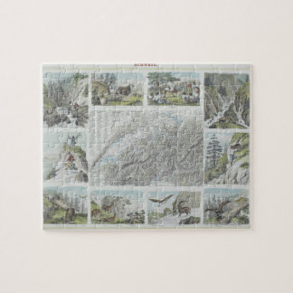Map and Vignettes of Swiss Alps Jigsaw Puzzle