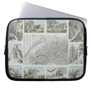 Map and Vignettes of Swiss Alps Computer Sleeve