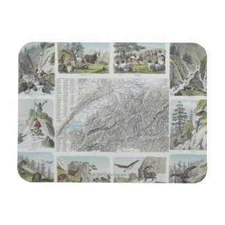 Map and Vignettes of Swiss Alps Magnet