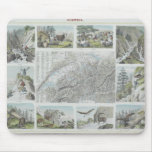 Map and Vignettes of Swiss Alps Mouse Pad