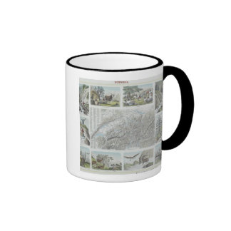 Map and Vignettes of Swiss Alps Mugs