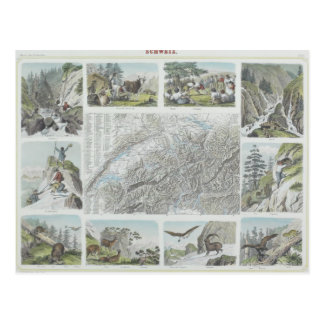 Map and Vignettes of Swiss Alps Post Card