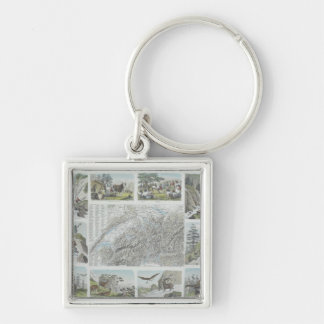 Map and Vignettes of Swiss Alps Silver-Colored Square Keychain