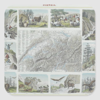 Map and Vignettes of Swiss Alps Square Stickers