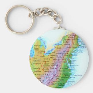 Map Appalachian Mountains East Coast US Photo Basic Round Button Keychain
