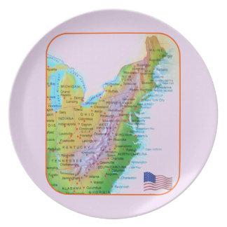 Map Appalachian Mountains East Coast US Photo Melamine Plate
